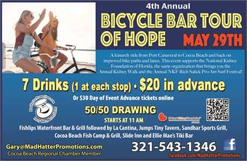 4th Annual NKF Bicycle Bar Tour of Hope, Saturday, May 29th, 11 am, to benefit the NKF of Florida