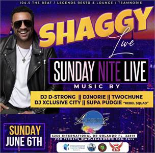 SNL Sunday's at Legends Resto & Lounge w/ Shaggy Live